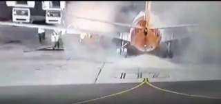 بالفيديو.. العاملون بمطار شرم الشيخ ينقذون طائرة اوكرانية من الانفجار