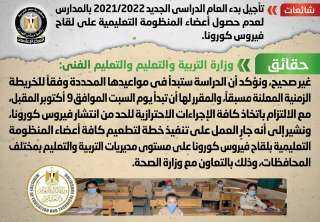 التعليم تنفي تأجيل بدء العام الدراسي الجديد 2021/2022 بالمدارس لعدم حصول أعضاء المنظومة التعليمية على لقاح فيروس كورونا