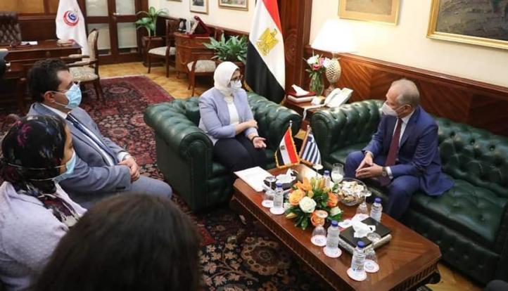 وزيرة الصحة تستقبل السفير اليوناني لدى مصر لبحث سبل  التعاون في القطاع الصحي